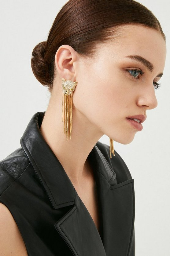 Gold Plated Tiger Tassle Earrings