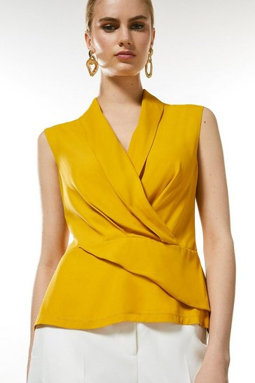 Mustard Sleeveless Drape Wrap Top