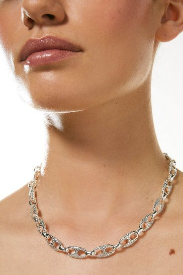 Silver Plated Diamante Link Necklace