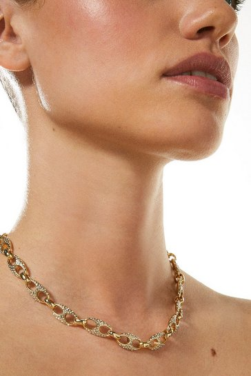 Gold  Plated Diamante Link Necklace