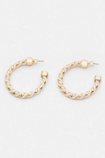 Nude Twist Detail Hoop Earrings