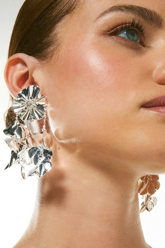 Silver Plated Statement Flower Earrings