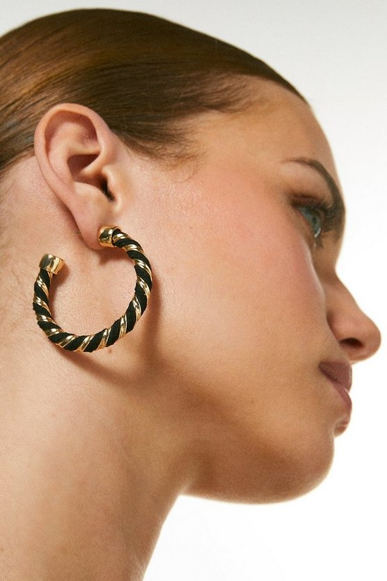Black Twist Detail Hoop Earrings