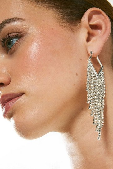 Silver Diamante Drop Earrings