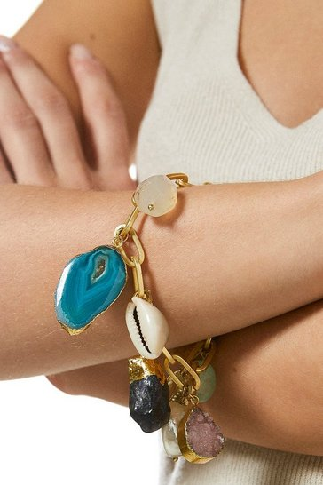 Gold Plated Natural Stone Charm Bracelet