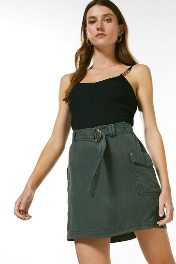 Khaki Tencel Belted Mini Skirt