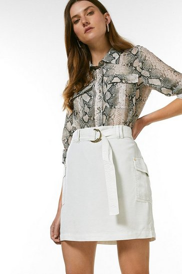 Stone Tencel Belted Mini Skirt