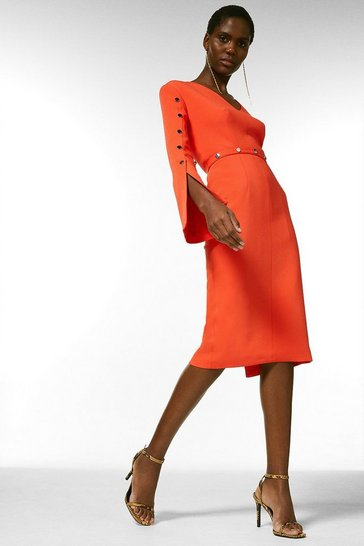 Orange Compact Stretch Viscose Stud Detail Dress