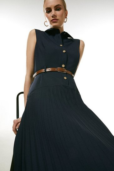 Navy Polished Wool Blend Sleeveless Pleated Dress