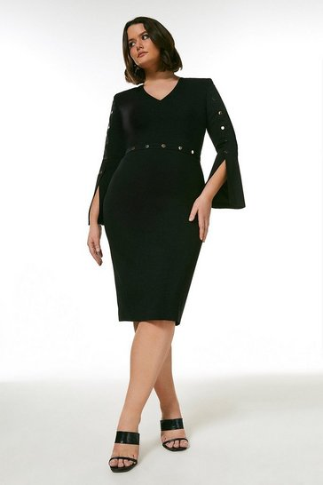 Black Curve Compact Stretch Viscose Stud Trim Dress