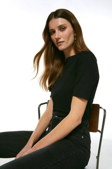 Black Organic Cotton Jersey Half Sleeve Slash Neck Top