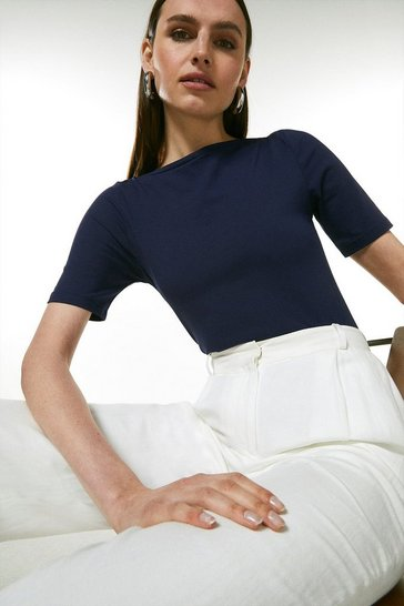 Navy Organic Cotton Jersey Half Sleeve Slash Neck Top
