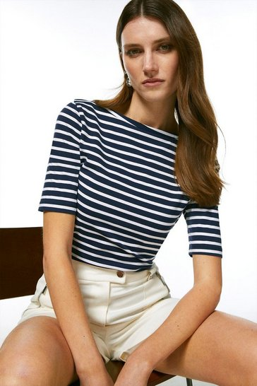 Navy Organic Cotton Jersey Stripe Slash Neck Top