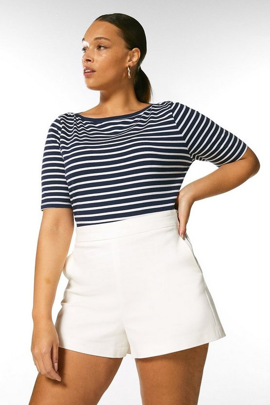 Navy Curve Organic Jersey Cotton Stripe Top