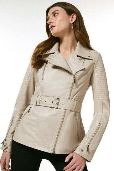Nude Leather Biker Stitch Belted Jacket