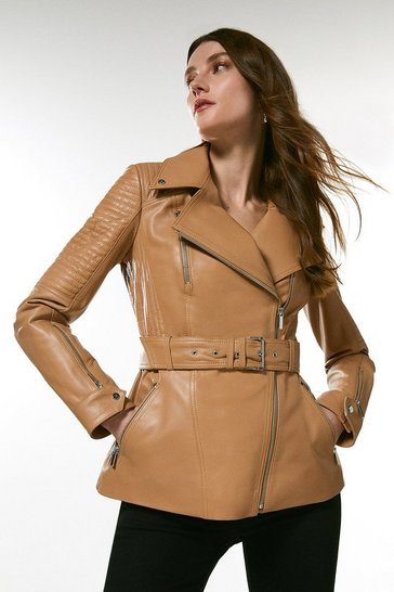 Tan Leather Biker Stitch Belted Jacket