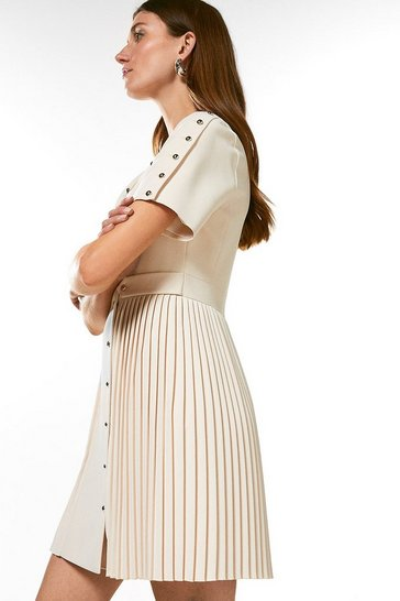 Cream Military Button Detail Pleat Dress
