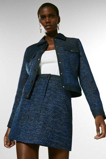 Blue Tweed Denim Mix Jacket