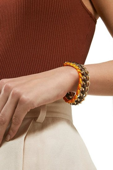Burnt orange Gold Plated Coloured Bracelet