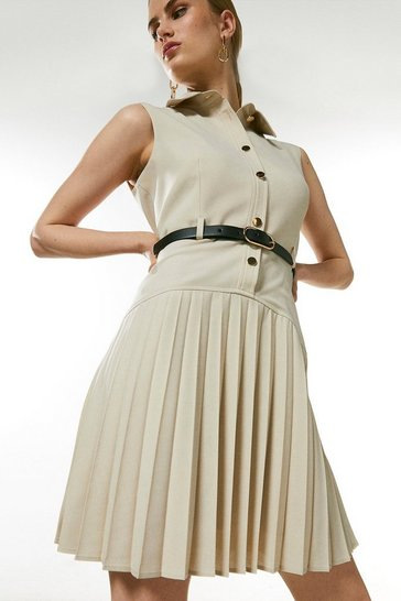 Stone Polished Wool Blend Pleated Mini Dress