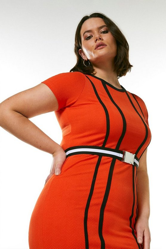 Coral Curve Tipped Textured Jersey Belted Dress