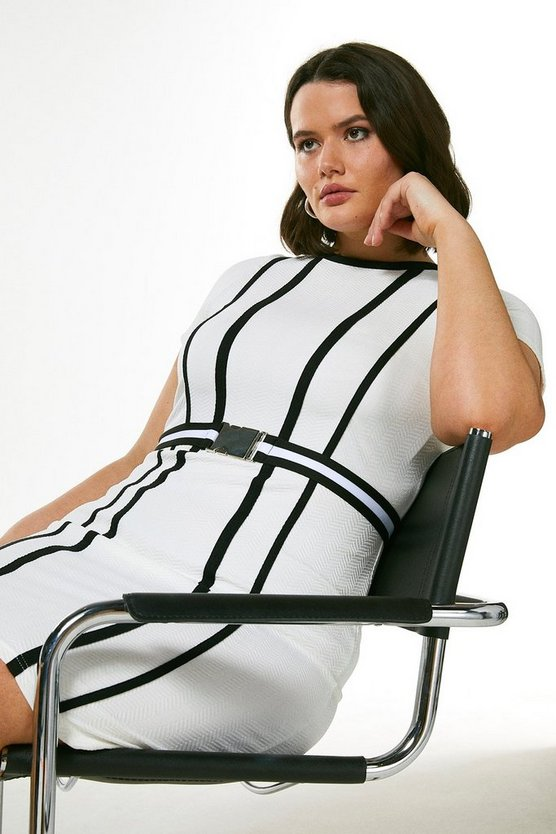 White Curve Tipped Textured Jersey Belted Dress