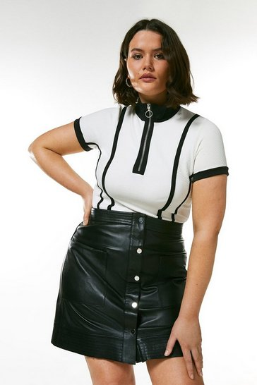White Curve Zip Neck Textured Jersey Top
