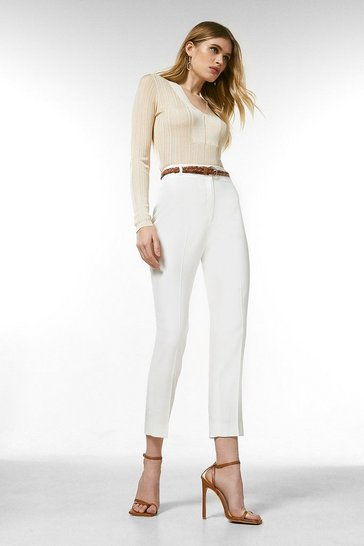 Ivory Relaxed Tailored Belted Trousers