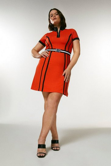 Coral Curve Zip Neck Textured Jersey Belted Dress