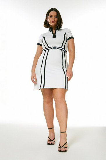 White Curve Zip Neck Textured Jersey Belted Dress