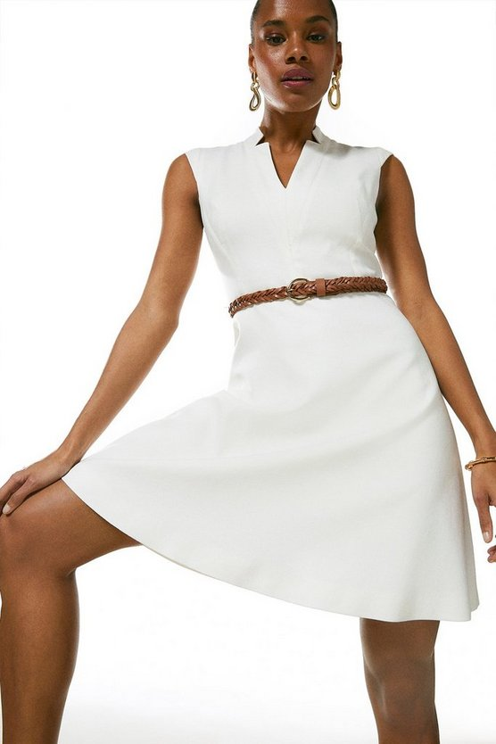 Ivory Relaxed Tailored Belted Dress