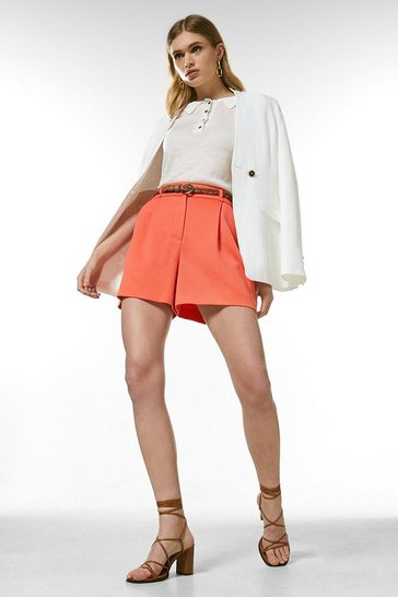 Coral Relaxed Tailored Belted Shorts