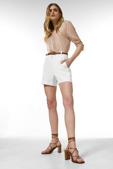 Ivory Relaxed Tailored Belted Shorts
