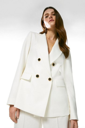 Ivory Relaxed Tailored Double Breasted Jacket