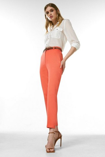 Coral Relaxed Tailored Belted Trousers
