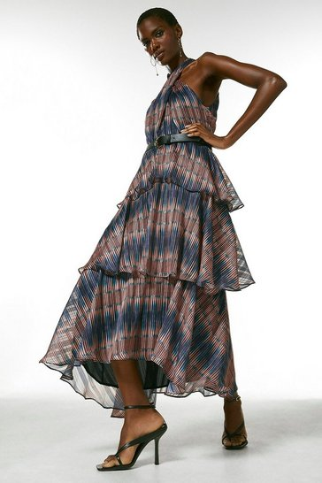 Orange Ikat Border Halter Belted Maxi