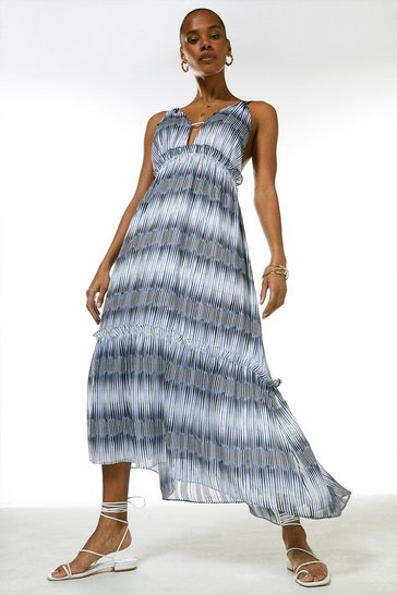 Blue Ikat Border Strappy Drama Maxi Dress