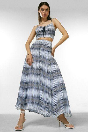 Blue Ikat Border Button Drama Skirt