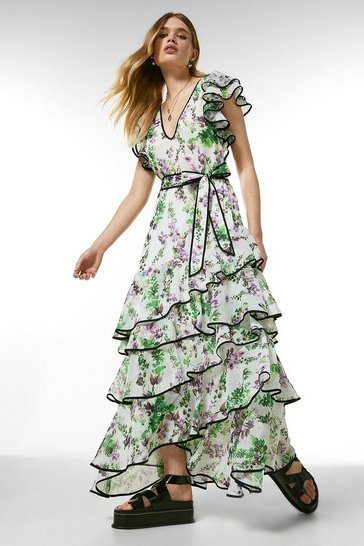 Ivory Watercolour Floral Strappy Ruffle Dress