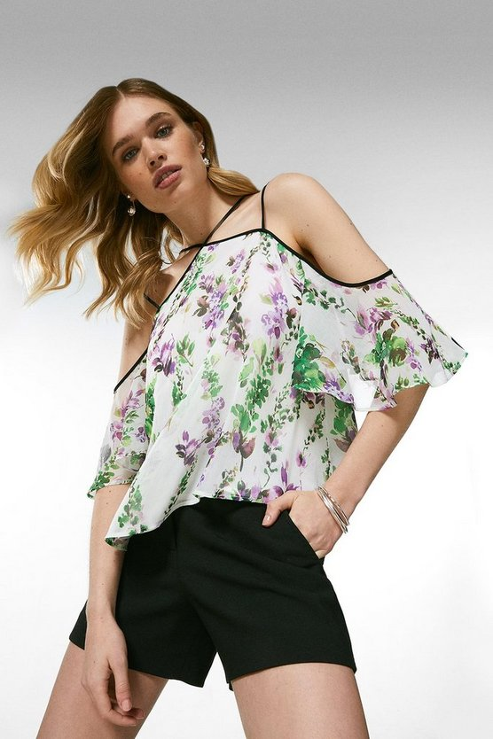 Ivory Watercolour Floral Strappy Top