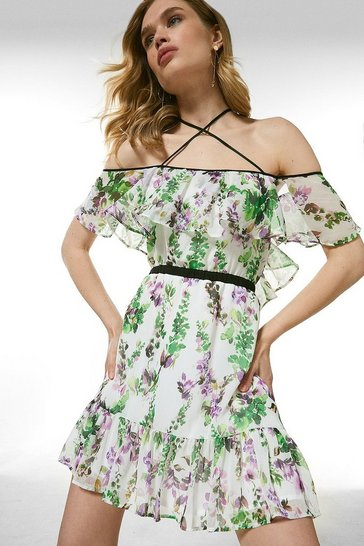 Ivory Watercolour Floral Strappy Short Dress