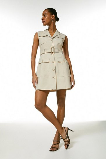 Stone Polished Stretch Wool Blend Utility Dress