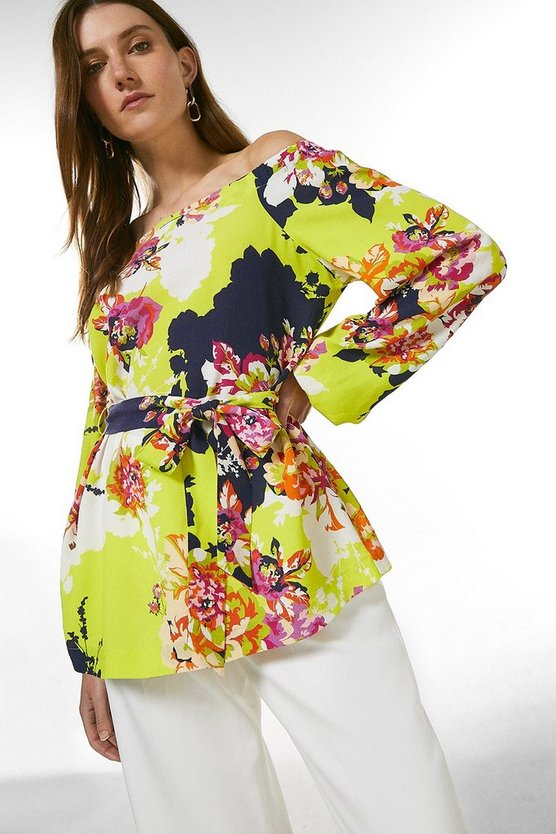 Yellow Bold Floral Bardot Tie Top