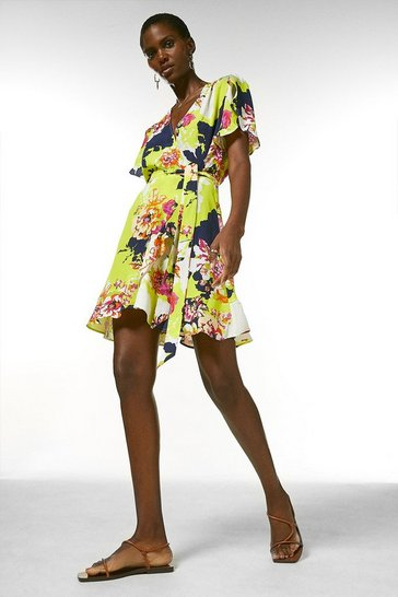 Yellow Bold Floral Short Wrap Dress