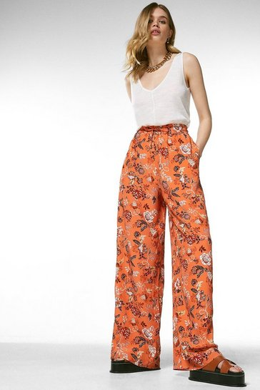Orange Batik Floral Wide Leg Trouser