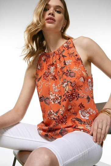 Orange Batik Floral Shell Top