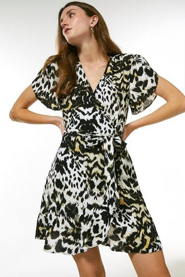 Animal Print Short Wrap Dress