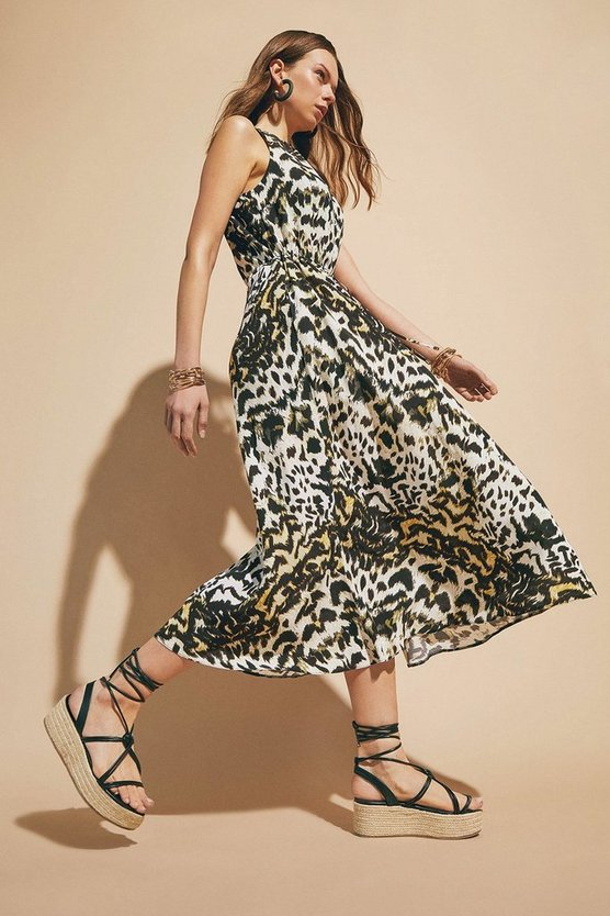 Animal Print Drawstring Midaxi Dress