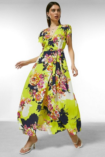 Yellow Bold Floral Wrap Dress