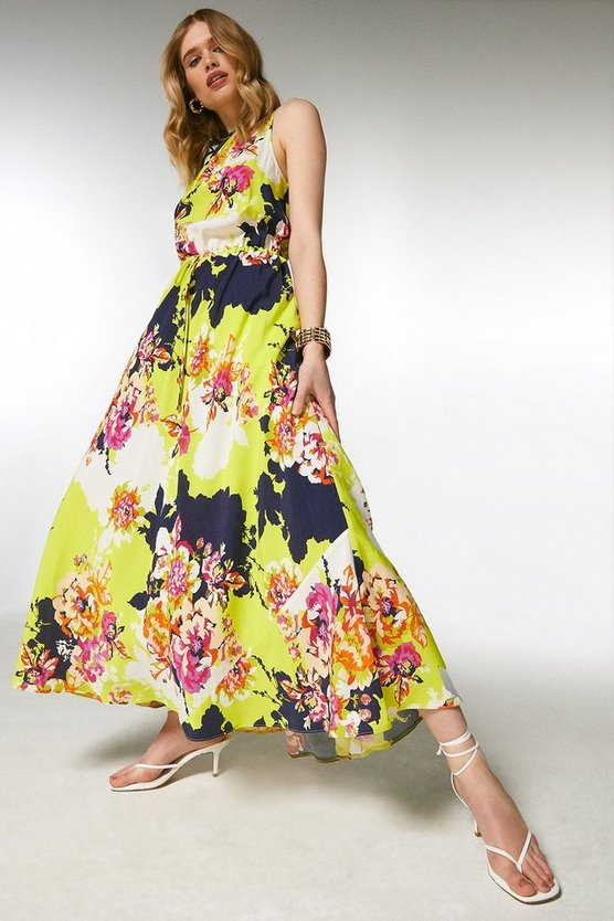 Yellow Bold Floral Drawstring Midaxi Dress